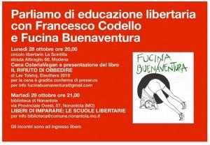 Parliamo di educazione libertaria con Francesco Codello e Fucina Buenaventura