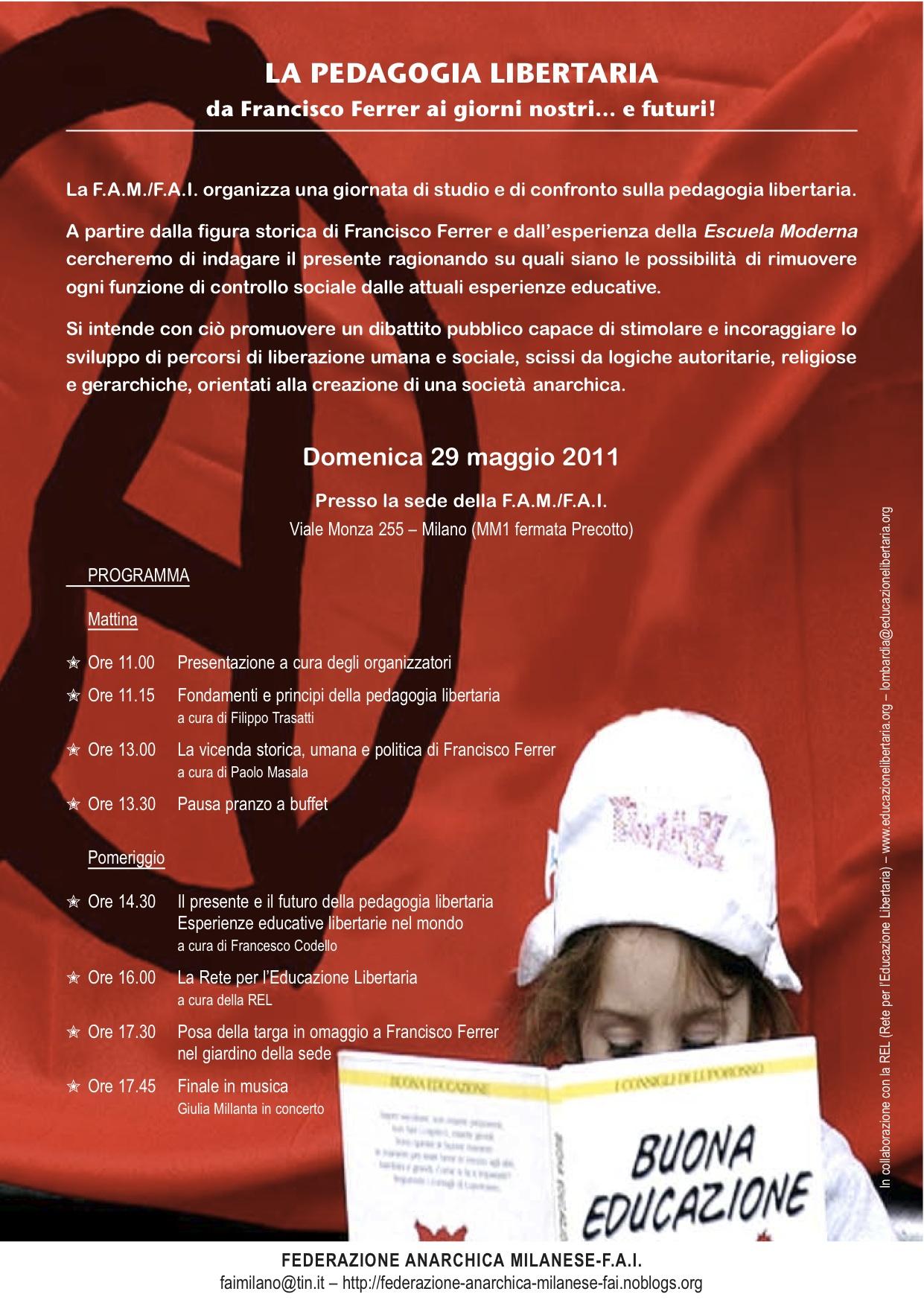 29 maggio 2011 – La pedagogia libertaria da Ferrer ai giorni nostri…e futuri!